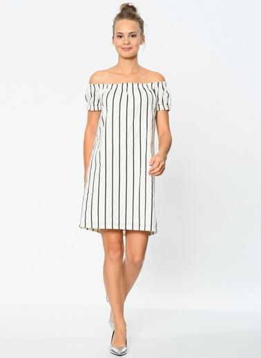 Kayık Yaka Çizgili Kısa Elbise-Vero Moda